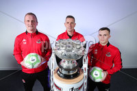 Press Eye - Belfast - Northern Ireland - 5th February 2020 - . NIFL  Bet McLean League Cup Final press night at the National Stadium.. Rory Hale, Jordan Owens and Stephen Baxter from Crusaders FC . Photo by Kelvin Boyes / Press Eye.