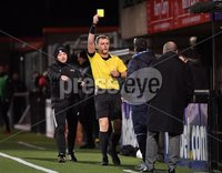 3/12/2019. Bet McLean league cup semi final between Crusaders and Institute at Seaview.. Institutes coach gets a yellow card from Jamie Robinson. Mandatory Credit Inpho/Stephen Hamilton