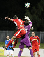 @Press Eye Ltd Northern Ireland- 2nd September 2014. Mandatory Credit -Brian Little/Presseye . Cliftonville Johnny Flynn    and Linfield goal keeper   Jonny Tuffey       during Tuesday night\'s Danske Bank Premiership match at Solitude.. Picture by Brian Little/Presseye .  . . . .  . . . . .  . . .  . . . . . . . . . . . . . . . . . . . .  . . . . . . .   . . . . .  . . . . .  . .                  . . . . . . . . . . . . . . . .  . . .                   . .    .  . . . . . . . . . . . .  . . . .  . .  . . . . . . . . . . . . . . . . . . . . . . . . . . . . . . . . . . . . . . . . . . . . . . . . . . . . . . . . . . . . . . . . . . . . . . . . . . . . . . . . . . . . . . . .  . . . . . . . . . . . .