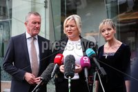 Press Eye - Belfast - Northern Ireland - 20th May 2019 -  . Conor Murphy, Michelle O\'Neill and Martina Anderson pictured at a press conference at the Stormont Hotel following meetings with the political parties.. Photo by Kelvin Boyes  / Press Eye..