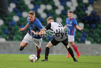 PressEye - Belfast - Northern Ireland - 06th May 2019. Harry Cavan Youth Cup Final. Linfield Rangers vs St. Oliver Plunkett. Pictured: Linfield Rangers\' Ethan Wynne and St. Oliver Plunketts\' Sean McCullough.. Picture: Philip Magowan / PressEye