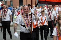Mandatory Credit - Picture by Freddie Parkinson/Press Eye . Friday 12 July 2019. Belfast Twelfth of July celebrations 2019.. A total of 18 venues across Northern Ireland.. Thousands of People line the streets of Belfast to celebrate the annual 12th of July celebrations, As Orange men and bands parade through Belfast City Centre.. W Bro Jim McAllister