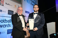 Press Eye - Belfast - Northern Ireland - 13th May 2019 . Northern Ireland Football Awards at the Crowne Plaza Hotel, Belfast. . Photo by Declan Roughan / Press Eye.. Merit Award . Football Writers\' Chairman Keith Bailie presents Brian Montgomery from the Ballymena Saturday Morning League with the award
