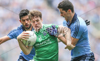 GAA Football All Ireland Senior Championship Quarter-Final, Croke Park, Dublin 2/8/2015. Dublin vs Fermanagh. Dublin's Cian O'Sullivan and Rory O'Carroll with Tomas Corrigan of Fermanagh. Mandatory Credit ©INPHO/James Crombie.