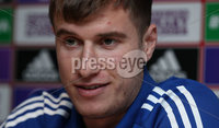 PressEye-Northern Ireland- 14th November 2019-Picture by Brian Little/PressEye. Northern Ireland\'s  Patrick McNair  during a press conference ahead of Saturday\'s Euro 2020 Qualifier against the Netherlands at the National Football Stadium at Windsor Park.. Picture by Brian Little/PressEye