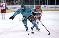 Press Eye - Belfast, Northern Ireland - 01st February 2020 - Photo by William Cherry/Presseye. Belfast Giants\' Elgin Pearce with Cardiff Devils\' Blair Riley during Sunday afternoons Elite Ice Hockey League game at the SSE Arena, Belfast.   Photo by William Cherry/Presseye