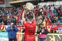 Tennent\'s Irish Cup Final - Ballinamallard United vs Crusaders - National Football Stadium - Windsor Park - Belfast - 4/5/19. Ballinamallard United vs Crusaders. Mandatory Credit INPHO/Declan Roughan. Crusaders Jordan Forsythe celebrates with the cup after defeating Ballinamallard 3-0