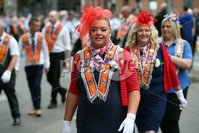 Mandatory Credit - Picture by Freddie Parkinson/Press Eye . Friday 12 July 2019. Belfast Twelfth of July celebrations 2019.. A total of 18 venues across Northern Ireland.. Thousands of People line the streets of Belfast to celebrate the annual 12th of July celebrations, As Orange men and bands parade through Belfast City Centre..