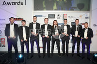 . Press Eye - Belfast - Northern Ireland - 13th May 2019 . Northern Ireland Football Awards at the Crowne Plaza Hotel, Belfast. . Photo by Declan Roughan / Press Eye.. Bluefin Sport Championship Team of the Year. Alyn Spratt of Bluefin Sport with the Sport Championship Team of the Year
