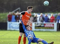 Danske Bank Premiership Play Off Loughshore Hotel Arena, Carrickfergus. Wednesday 9 May 2018. Carrick Rangers FC vs Newry City FC. Patrick McNally Carrick and Mark McCabe Newry. Mandatory Credit ©INPHO/Freddie Parkinson