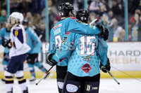 Press Eye - Belfast, Northern Ireland - 29th February 2020 - Photo by William Cherry/Presseye. Belfast Giants\' Elgin Pearce celebrates scoring against the Guildford Flames during Saturday nights Elite Ice Hockey League game at the SSE Arena, Belfast.    Photo by William Cherry/Presseye