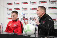 Press Eye - Belfast - Northern Ireland - 5th February 2020 - . NIFL  Bet McLean League Cup Final press night at the National Stadium.. Rory Hale and Stephen Baxter from Crusaders FC . Photo by Kelvin Boyes / Press Eye.