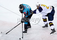 Press Eye - Belfast -  Northern Ireland - 10th October 2018 - Photo by William Cherry/Presseye. Belfast Giants\' Hunter Bishop with Guildford Flames\' Corbin Baldwin during Wednesday nights Elite Ice Hockey League game at the SSE Arena, Belfast.        Photo by William Cherry/Presseye.