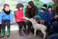 Press Eye - Belfast - Northern Ireland - 12th February 2020 - . HRH The Duchess of Cambridge pictured at The Ark Open Farm in Newtownards.. During her visit to the farm, HRH will met with local representatives of Early Years and families who have benefitted from the work of the charity. Young children from two local nurseries were also present. The Duchess received a guided tour of the facility, meeting with the owners and staff of the family-run farm and viewed various animals during her walkabout.. Photo by Kelvin Boyes / Press Eye..