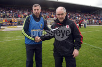 All Ireland Senior Football Championship Qualifier Round 2, Dr. Hyde Park, Roscommon 14/7/2012. Roscommon vs Tyrone. Manager\'s Des Newton and Mickey Harte at the end of the game. Mandatory Credit ©INPHO/Donall Farmer