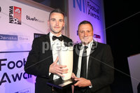 . Press Eye - Belfast - Northern Ireland - 13th May 2019 . Northern Ireland Football Awards at the Crowne Plaza Hotel, Belfast. . Photo by Declan Roughan / Press Eye.. Premier Intermediate League Player of the Year.. Ryan McCready from Queen\'s University with NIFL Managing Director Andrew Johnston.