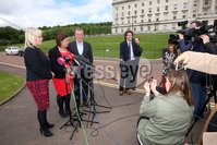 Mandatory Credit - Picture by Freddie Parkinson/Press Eye . Thursday 6 June 2019. Sinn Fin leadership including Mary Lou McDonald, Michelle ONeill and Conor Murphy at Stormont following the Plenaries.