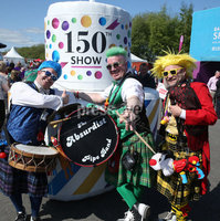 PressEye-Northern Ireland- 16th May 2018-Picture by Brian Little/ PressEye. The AbsurdiSt Pipe Band members ,Schloppi,Blotto and Boffo  entertain the crowds during the  First day of the 2018 Balmoral Show, in partnership with Ulster Bank, at Balmoral Park. Picture by Brian Little/PressEye