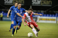 Bet McLean League Cup 3rd Round, Stangmore Park, Dungannon   8/10/2019. Dungannon Swifts FC  vs Linfield FC. Dungannon Swifts Michael Carvill and  Jamie Mulgrew  of Linfield .. Mandatory Credit  INPHO/Brian Little