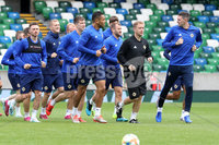 Press Eye - Belfast - Northern Ireland - 8th  September 2019. Northern Ireland train at the National Stadium ahead of their UEFA Euro Qualifier against Germany.. Picture by Declan Roughan/PressEye. Northern Ireland Squad