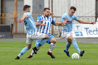 Danske Bank Premiership, The Showgrounds, Ballymena, 14/09/2019. Ballymena United vs Coleraine. Mandatory Credit INPHO/Declan Roughan. Ballymena United\'s Declan Carville and Scott Whiteside. with James McLaughlin of Coleraine