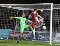 Danske Bank Premiership, Showgrounds, Ballymena. 14/2/2020. Ballymena United  vs Linfield FC. Ballymena United\'s  goal keeper Ross Glendinning  saves from Andrew Waterworth of  Linfield.. Mandatory Credit  INPHO/Brian Little