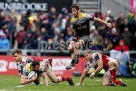 European Rugby Champions Cup Round 5, Kingspan Stadium, Belfast 13/1/2018. Ulster vs La Rochelle. Ulster\'s Louis Ludik and Darren Cave with Geoffrey Doumayrou and Vincent Rattez of La Rochelle. Mandatory Credit ©INPHO/Tommy Dickson