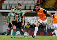 BetMcLean League Cup Round 3, The Oval, Belfast 10/10/2017. Glentoran vs Carrick Rangers. Glentoran\'s James Knowles with Carrick Rangers\' Mark Clarke. Mandatory Credit ©INPHO/Matt Mackey
