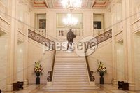 Press Eye - Belfast - Northern Ireland - 9th February 2018. General view of the Great Hall at Parliament Buildings as local party talks continue at Stormont to try and get the Northern Ireland Assembly up-and-running again . Picture by Jonathan Porter/PressEye