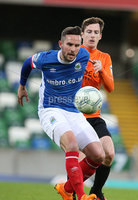 vPressEye-Northern Ireland- 18th April 2017-Picture by Brian Little/PressEye. Linfield  Andrew Waterworth    and Glenavon  James Gray  during Easter Tuesday\'s Danske Bank Section A match at Windsor Park.. Picture by Brian Little/PressEye