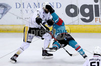 Press Eye - Belfast -  Northern Ireland - 13th January 2018 - Photo by William Cherry/Presseye. Belfast Giants Brendan Connolly with Nottingham Panthers Robert Farmer during Saturday nights Elite Ice Hockey League game at the SSE Arena, Belfast.