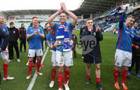 Danske Bank Premiership, Windsor Park,Belfast  13/4/2019. Linfield vs Crusaders. Linfield\'s Andrew Waterworth and Jamie Mulgrew  at the final whistle  after winning the Danske Bank Premiership title.. Mandatory Credit INPHO/Brian Little