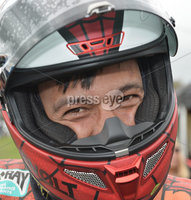 Mandatory Credit: Rowland White / PressEye. Motor Cycle Racing: 57th Tandragee 100 . Venue: Tandragee. Practice Day. Date: 21st April 2017. Caption: A happy Michal Dokoupil from the Czech Republic