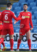 Danske Bank Premiership, Ballymena United vs Cliftonville, The Ballymena Showgrounds, Co. Antrim . 3/4/2018 . Cliftonville\'s Joe. McKinney celebrates scoring. Mandatory Credit ©INPHO/Matt Mackey