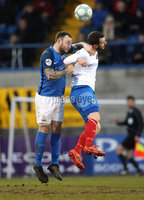 Danske Bank Premiership, Mourneview Park, Co. Armagh 3/4/2018 . Glenavon vs Linfield. Mandatory Credit ©INPHO/William Cherry. Glenavon\'s Andrew Doyle with Linfield\'s Kurtis Byrne