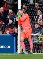 . Danske Bank Premiership Play-Off, Seaview, Belfast 14/4/2018 . Crusaders vs Linfield. Mandatory Credit ©INPHO/Stephen Hamilton.  Linfields Roy Carroll sleeps on the job