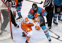 5 January 18, Mandatory Credit ©Press Eye/Darren Kidd.  . Belfast Giants Ryan Martinelli with Sheffield Steelers Eric Neiley during Friday nights Elite League game at the SSE Arena, Belfast.