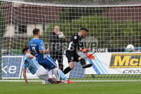 Danske Bank Premiership, The Showgrounds, Ballymena, 14/09/2019. Ballymena United vs Coleraine. Mandatory Credit INPHO/Declan Roughan. Coleraine\'s James McLaughlin scores against Ballymena United\'s Ross Glendinning