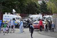 Presseye.com. 8th August 2019. General views of the Newlodge bonfire  in Belfast where police have moved in ahead of contractors which have been tasked to remove everything from the site.. Police come under attack from stone throwers during todays protest. Mandatory Credit : Stephen Hamilton/Presseye