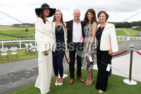 Press Eye - Belfast - Northern Ireland - 11th August 2019 - (L-R) Sharon Donnan from Comber, Rosemary Craig from Warringstown, Stephen Donnan from Comber, Louise Brown from Comber and Allison Craig from Warringstown pictured at the Downpatrick Racecourse Style Sunday race meeting. . Photograph by Declan Roughan / Press Eye
