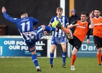 Danske Bank Premiership, Belfast Loughshore Hotels Arena 2/12/2017 . Carrick Rangers vs Coleraine. Josh Carson of Coleraine and Gavin Taggart of Carrick. Mandatory Credit ©INPHO/Freddie Parkinson