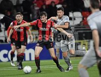 3/12/2019. Bet McLean league cup semi final between Crusaders and Institute at Seaview.. Crusaders Philip Lowry in action with Institutes Joe McCready. Mandatory Credit Inpho/Stephen Hamilton