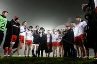 McKenna Cup, Kingspan Breffni Park, Co. Cavan 10/1/2018. Cavan vs Tyrone. Tyrone manager Mickey Harte speaks to his team after the  game. Mandatory Credit ©INPHO/Tommy Dickson