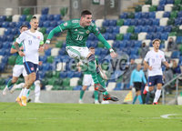 Press Eye-Belfast-Northern Ireland -12th November 2020. National Football Stadium at Windsor Park, Belfast. . 12/11/2020. Northern Ireland  Kyle Lafferty fires shot which hit the Slovakia post during Thursday  night\'s UEFA Euro 2020  Play-off Final  at the National Football Stadium at Windsor Park,Belfast.. Mandatory Credit PressEye