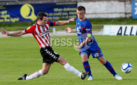 Airtricity League Premier Division, The Brandywell 13/7/2012. Derry City vs Sligo Rovers. Derry\'s Barry Molloy with David Cawley of Sligo Rovers. Mandatory Credit ©INPHO/Margaret McLaughlin