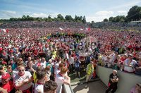 Ulster GAA Senior Football Championship Final, St Tiernach\'s Park, Clones, Co. Monaghan 16/7/2017. Down vs Tyrone. Tyrone supporters on the pitch after the game. Mandatory Credit ©INPHO/Morgan Treacy