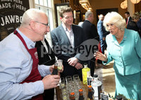 22 May 2019, Mandatory Credit Press Eye/Darren Kidd.  The Prince of Wales and Duchess of Cornwall during their visit to The Grand Central Hotel Belfast on the second day of their visit to Northern Ireland. . Duchess of Cornwall with Gerry White of Jawbox Gin
