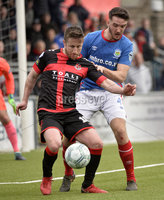 . Danske Bank Premiership Play-Off, Seaview, Belfast 14/4/2018 . Crusaders vs Linfield. Mandatory Credit ©INPHO/Stephen Hamilton. Crusaders Michael Carvill  with Linfields Josh Robinson