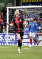 . Danske Bank Premiership Play-Off, Seaview, Belfast 14/4/2018 . Crusaders vs Linfield. Mandatory Credit ©INPHO/Stephen Hamilton. Crusaders jordan Owens celebrates after firing the Crues into a 1-0 lead