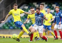 Danske Bank Premiership, Windsor Park, Belfast 10/2/2018. Linfield vs Dungannon Swifts. Linfield\'s Jamie Mulgrew in action with David Armstrong of Dungannon. Mandatory Credit ©INPHO/Declan Roughan